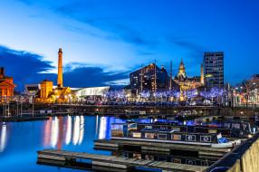 англия, городской вид, города, лодочный дом, архитектура, shahid a khan, город, ливерпуль, cоединенное королевство, док, голова пирса, merseyside, ночь, башни, лодка