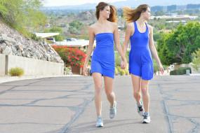 сёстры, близняшки, модели, улица, девушки, Raylene, Romi