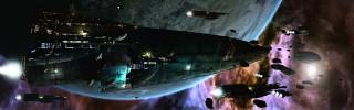 космос, планета, астероиды, корабли