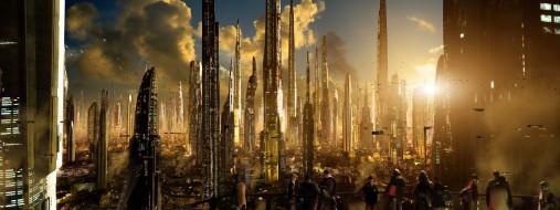 башни, город, люди, площадка