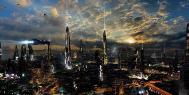 лучи, транспорт, башни, город, облака, небо