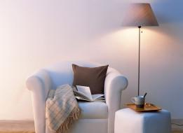 очки, плед, чашка, торшер, пуфик, книга, подушка, кресло