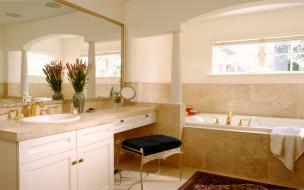 банкетка, зеркало, окно, ванна, раковина