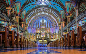 cathedral, dame, notre, interior, canada, basilica, montreal
