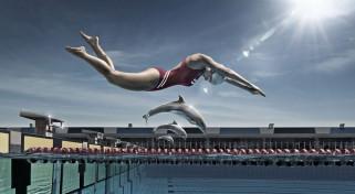 бассейн, дельфины, соревнование, девушка