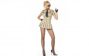 блондинка, модель, форма, перчатки, очки