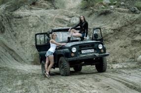 автомобиль, УАЗ, внедорожник, девушки