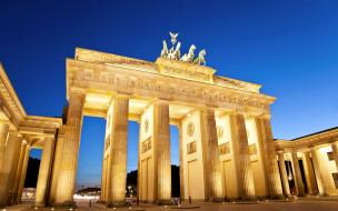 города, берлин , германия, brandenburg, gate