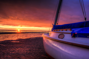 закат, берег, песок, яхта, море