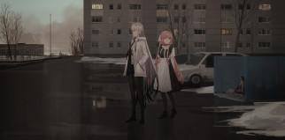 аниме, город,  улицы,  интерьер,  здания, девушки