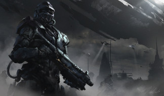 by Darek Zabrocki, Halo tribute, 1h sci-fi sketch