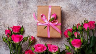 розы, бутоны, подарок, лента, бант