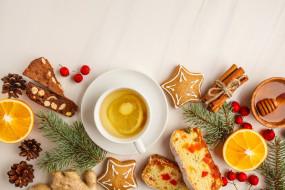 апельсин, шишки, мед, печенье, чай