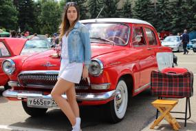 классика, ретро, девушка, автомобиль, Волга, ГАЗ- 21