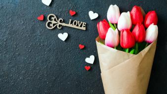 надпись, ключ, тюльпаны