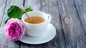 чай, чашка, роза
