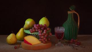 сыр, виноград, вино, груши