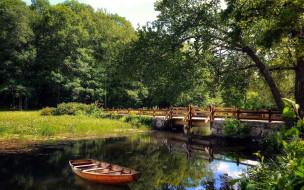 река, лодка, мост
