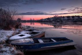 снег, лодки, река, закат