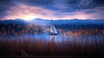 яхта, озеро, горы