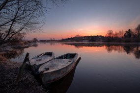 закат, река, лодки