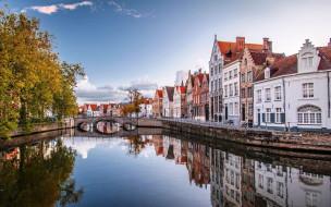 города, брюссель , бельгия, мост, канал