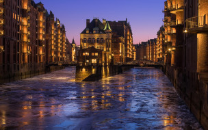 города, гамбург , германия, вечер, река, огни