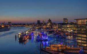 города, гамбург , германия, панорама