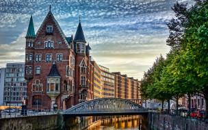 города, гамбург , германия, мост, река