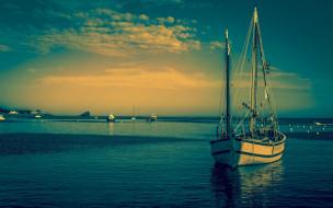 яхта, закат, озеро