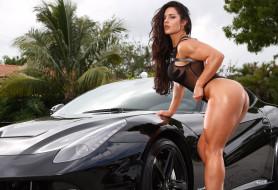 Celeste Bonin, ferrari, взгляд, бодибилдинг, девушка, мышцы, чёрный, автомобиль, макияж, поза, красотка, брюнетка, модель