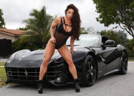 модель, девушка, Celeste Bonin, поза, красотка, брюнетка, мышцы, чёрный, ferrari, взгляд, бодибилдинг, автомобиль, макияж