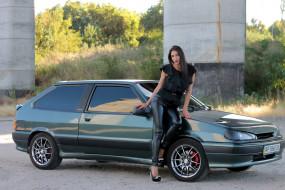 девушка, брюнетка, Лада, ВАЗ- 2113, автомобиль