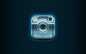 синий фон, Instagram, стеклянный логотип, иллюстрации, социальные сети, бренды