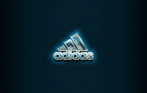 adidas, бренды, логотип, иллюстрации, синий, фон, креатив, из, стекла