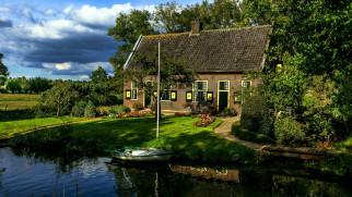 дом, лодка, река