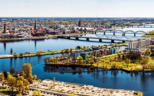 панорама, река, мосты