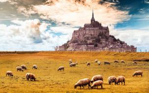 города, крепость мон-сен-мишель , франция, крепость