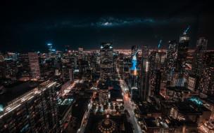 панорама, огни, ночь