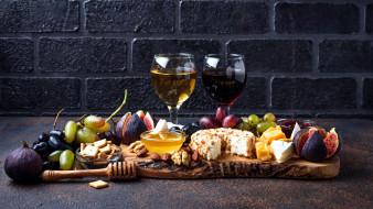 инжир, виноград, сыр, вино, мед