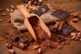 шоколад, корица, какао