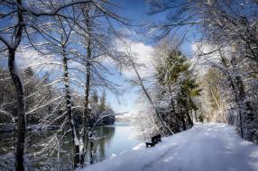природа, зима, скамейка, снег, река