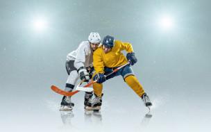коньки, шлемы, прожектора, шайба, хоккей, перчатки, лёд, игра