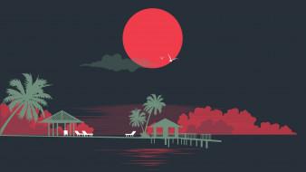 Силуэты, Пальмы, Стиль, Море, Солнце