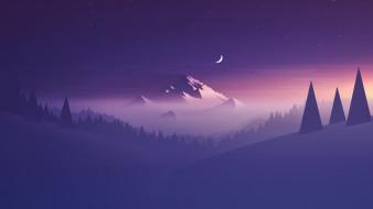 Ёлки, Месяц, Пейзаж, Лес, Гора, Звезды, Туман, Горы