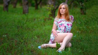 трава, платье, взгляд