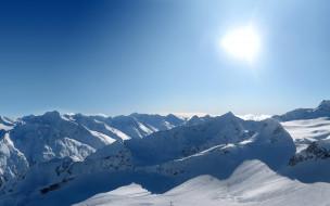 небо, солнце, горы, снег