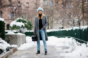 сумка, снег, модель, зима, девушка, город