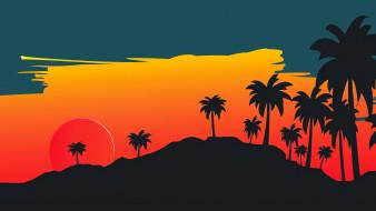 небо, пальмы