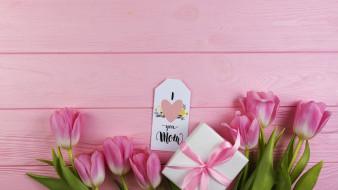 надпись, тюльпаны, подарок